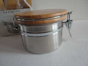 Brand new in box stainless steel canister with wooden lid London Ontario image 4