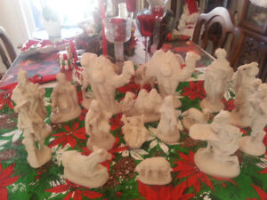 large nativity clay manger set 17 pieces