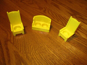 Fisher-Price Vintage Miniature Sofa and 2 high-back chairs