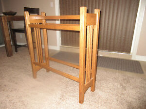 Amish made solid oak blanket rack