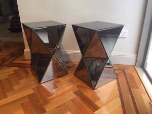 Brand new mirrored side tables/stools Darling Point Eastern Suburbs Preview