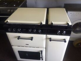 Black & cream 80cm dual fuel cooker grill & double fan oven good condition with guarantee
