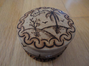 Handmade wooden Cuba jewelry keepsake box container