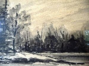 "Original Northern Landscape Watercolor by K.Rooney  ""Shoreline"" Stratford Kitchener Area image 9"