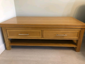 Living room wooden table with two draws