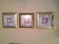 Series of 3 Pictures Set in High End Picture Frames