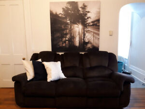 chocolate brown 3 seater recliner couch