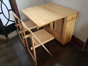 Selling: 5 Pc. Wooden Folding table & Chair set $50