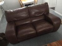 Dark brown leather sofas 3 seater & 2 seater