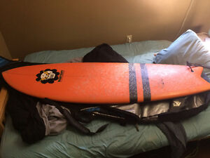 """Barely Used 6'0"""" Vampirate Evil Twin Fin Surfboard"""