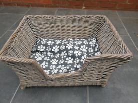 Wicker dog basket with cushion (unused)