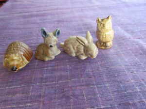 Four woodland Wade Tea Figures - Hedgehog, owl, rabbit and deer