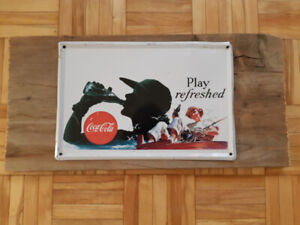 Coca-Cola metal sign - 'Play refreshed' mounted on barn board