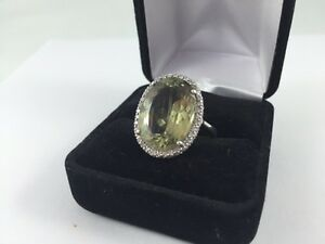 18K WHITE GOLD 14.8CT DIASPORE & DIAMOND RING APPRAISED $7425