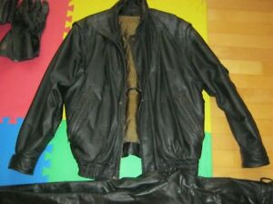 Motorcycle  Leather Jacket, Pants boots, gloves and helmet