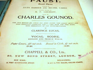 1910 FAUST Grand Opera BARBIER & CARRE music vocal score GOUNOD Cambridge Kitchener Area image 2