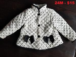 Girls coat jacket white 24 months