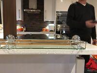 Bathroom mirror and glass shelf