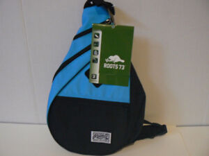 Roots 73 -Unisex RTS4410 black sling bag-Blue BRAND NEW genuine