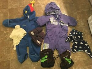 Columbia Snow Suits, Stonz boots and mitts