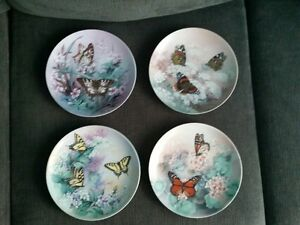 4 Butterfly Collectors Plates (fine China)
