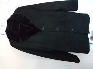 Men's black sheepskin winter coat with mink fur