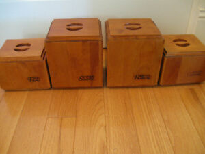 RUSTIC-STYLE SLEEK-LINED 4-PC. WOODEN CANNISTER SET