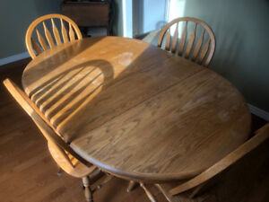 4 Chair Solid Oak Table set