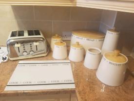 Cream kitchen utensils