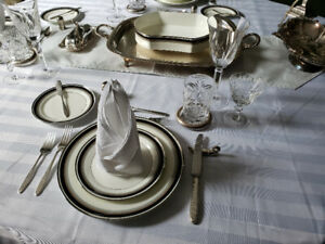Fine Bone China dinner set for 9 + serving pieces