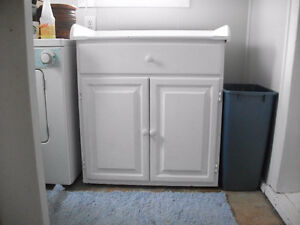 Large wooden cabinet for Kitchen or Laundry Room painted white