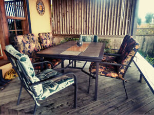 Metal Patio Table w Ceramic Tiles and Chair/Cushion Set - $50