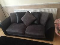 Settee for sale - black & charcoal - 1 X 3 seater & 1 X 2 seater **reduced price as need gone