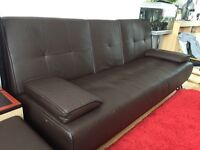 Brown faux leather Sofa Bed x2