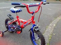 """Kids Bike- Boys Red/Blue Bike 12"""" with Stabilizers and Helmet in excellent condition"""