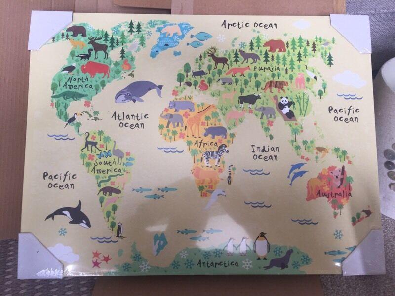 Brand new sealed achica animal world map canvas in lincoln brand new sealed achica animal world map canvas publicscrutiny Choice Image