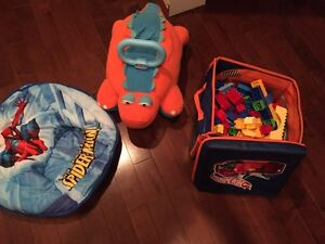 Boys toys blocks and spider chair w riding dino
