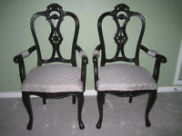 Teak wood carved armed, living/family room chairs Watch|Share |P