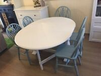Gateleg drop leaf folding table dinning chairs white duck egg grey