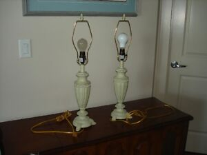 2 sage green tri light lamps,excellent condition