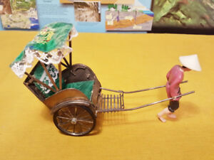 Vintage Asian Chinese Metal Toy Rickshaw and Celluloid Figurine