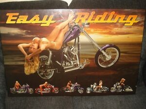 Mounted Motorcycle Poster On MDF