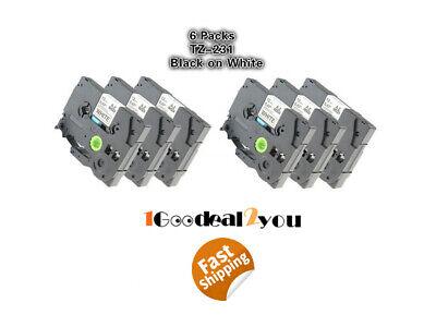 6 Pk Compatible Label Maker Tape 12mm For Brother P-touch Tz-231 Tze-231 Pt-d210