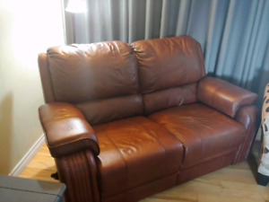 ***PPU*** Real leather love seat and chair