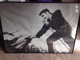 large elvis framed picture