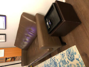 Brown leather sofa couch for sale plus matching pouf