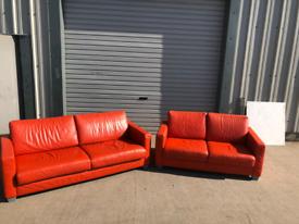 Orange Designer Italian leather 3+2 seater sofas couches suite 🚚🚚