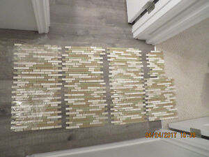 glass and travertine tile