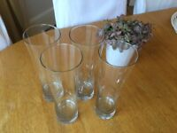 Four beer glasses