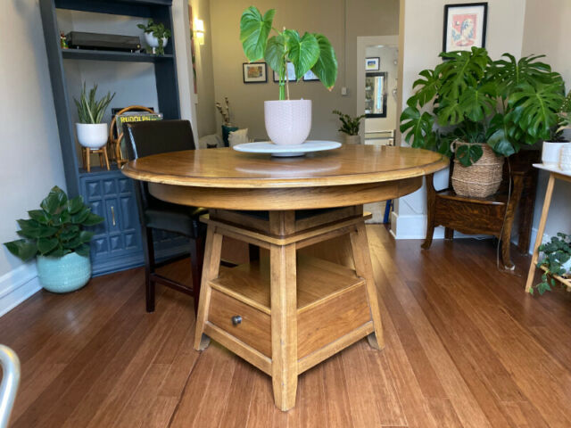 solid wood dining table with leaf storage  6 chairs